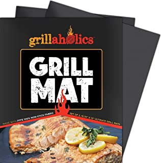Grillaholics Grill Mat – Set of 2 Heavy Duty BBQ Grill Mats – Non Stick,..