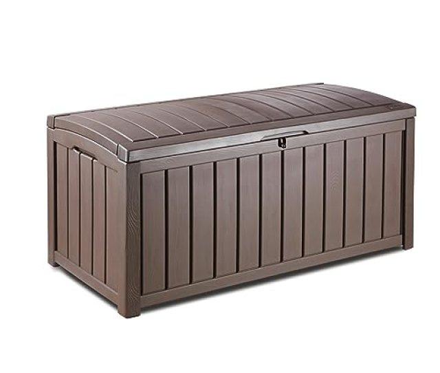 Keter Glenwood Plastic Deck Storage Container Box Outdoor Patio Furniture 101 Gal Brown