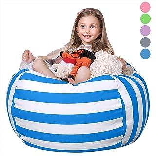 WEKAPO Stuffed Animal Storage Bean Bag Chair Cover for Kids   Stuffable Zipper Beanbag..