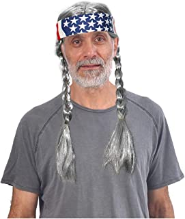 Costume Adventure Grey Hippie Wig with Braids and American Flag Bandana - One Size