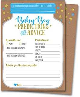 50 Baby Shower Predictions and Advice Cards for Baby Boy, Mason Jar Design – Baby..