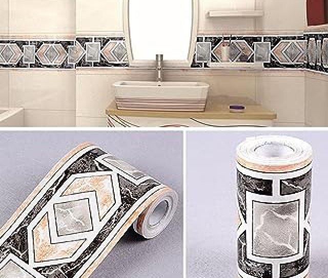 Simplelifeu Modern Geometric Wallpaper Border Self Adhesive Wall Covering Borders Kitchen Bathroom Tiles Decor Sticker