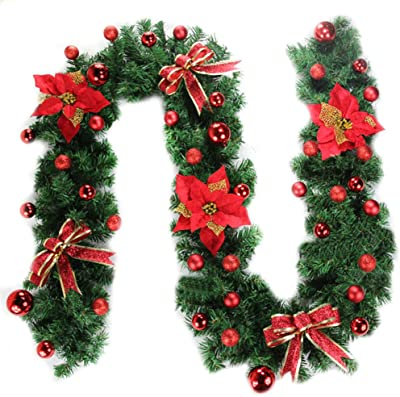 Morbuy Christmas Garland Decorations 2 7m Fireplaces Stairs Decorated Garlands 8 Mode Wreath Led Lights Illuminated Baubles Flower Ball Xmas Tree Festive Decor Red Amazon Co Uk Kitchen Home