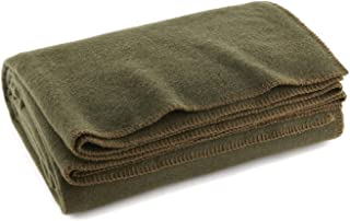 """Ever Ready First Aid Olive Drab Green Warm Wool Fire Retardent Blanket, 66"""" x.."""