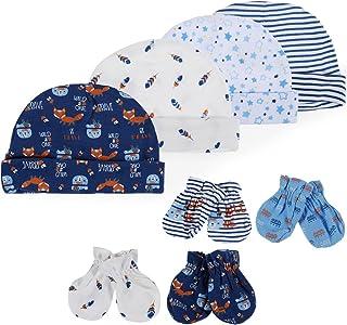 Lictin Set Cappellino e Babbucce per Neonato,4 paia Antigraffio Guanti per Neonati e 4 pezzi cappello per Neonati 1-6 Mesi,100% Cotone