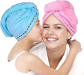 Microfiber Hair Towel Wrap 2 Pack -Hair Turban Head Wrap with Button, Quick Dry -Super..