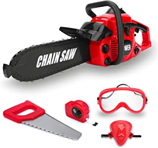 Kids Size Construction Yard Toy Pack Tool Big Play Realistic Chainsaw with Sound,..