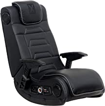 X Rocker Pro Series H3 Black Leather Vibrating Floor Video Gaming Chair with Headrest for..