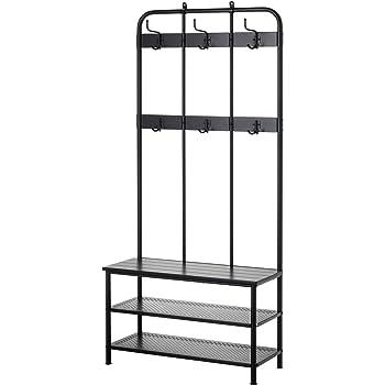Amazon Com Ikea Pinnig Coat Rack With Shoe Storage Bench Black Furniture Decor