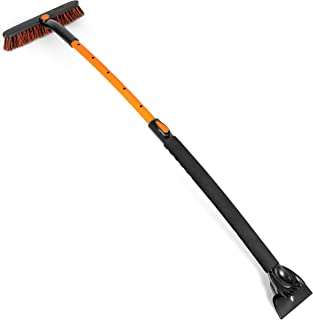 "BIRDROCK HOME Snow Moover Extendable 50"" Car Brush and Ice Scraper with Foam Grip.."