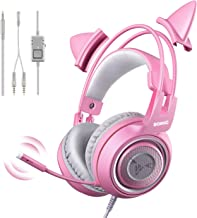 SOMIC G951s Pink Stereo Gaming Headset with Mic for PS4, Xbox One, PC, Mobile Phone,..