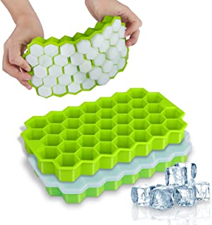 Ice Cube Trays, WETONG 2 Pack Silicone Ice Cube Molds with Lid Flexible 74-Ice Trays BPA..