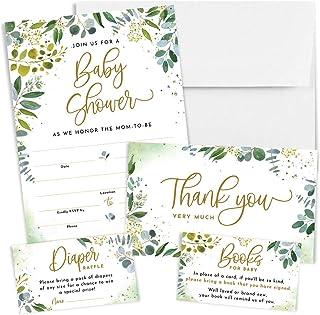 Printperie 25 Greenery Baby Shower Invitation Set with Envelopes – Gender Neutral..