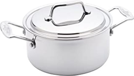 USA Pan Cookware 5-Ply Stainless Steel 3 Quart Stock Pot with Cover, Oven and Dishwasher Safe, Made in the USA, Silver