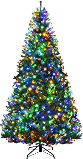 Goplus 8FT Pre-Lit Artificial Christmas Tree Auto-Spread/Close up Branches 11 Flash Modes..