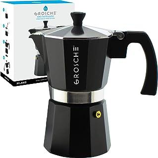 GROSCHE Charcoal Milano Stovetop Espresso Maker, 6 cup