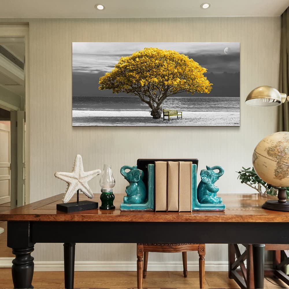 Buy Wall Art For Living Room Decorations Photo Prints Panoramic Black And White With Yellow Trees The Moon Scenery Modern Home Decor The Room Stretched And Framed Ready To Hang