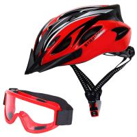 Strauss Cycling Helmet Red Cycling Helmet With Bike Goggle
