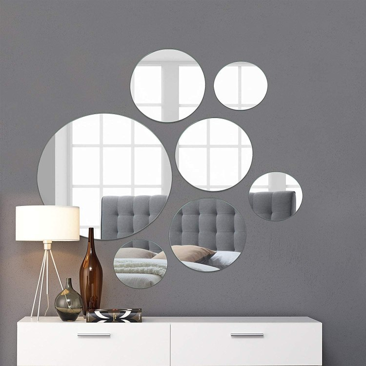 """Light In The Dark Large Round Mirror Wall Mounted Assorted Sizes (1x12"""",  3x9"""", 3x6"""") - Set of 7 Round Glass Mirrors Wall Decoration for Living Room,  Bedroom or Bathroom.: Amazon.ca: Home &"""