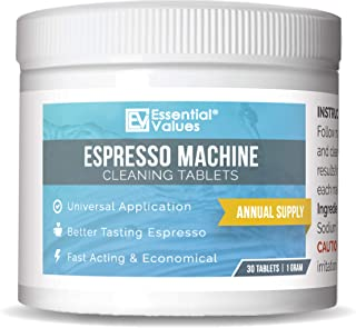 Essential Values Espresso Machine Cleaning Tablets (30 Tablets), Perfect for Jura, Miele,..