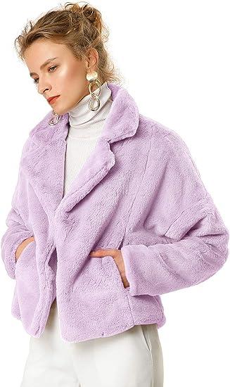 lavendel light purple faux fur jacket warm winter aesthetic