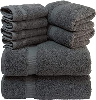 White Classic Luxury Grey Bath Towel Set – Combed Cotton Hotel Quality Absorbent 8..