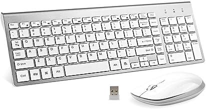 Wireless Keyboard and Mouse Combo, FENIFOX USB Slim 2.4G Full Size Ergonomic Compact with..