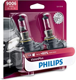 Philips 9006 VisionPlus Upgrade Headlight Bulb with up to 60% More Vision, 2 Pack