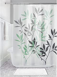 iDesign Leaves Fabric Shower Curtain, Water-Repellent Bath Liner for Kids', Guest,..