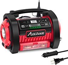 Avid Power Tire Inflator Air Compressor, 12V DC / 110V AC Dual Power Tire Pump with..