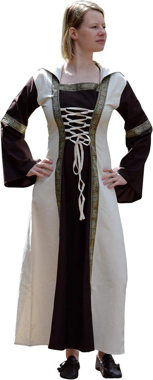Battle-Merchant - Vestido Medieval Eleanor con Capucha - para Larp Vikingo - Marrón/Natural