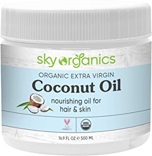 Organic Extra Virgin Coconut Oil by Sky Organics (16.9 oz) USDA Organic Coconut Oil..
