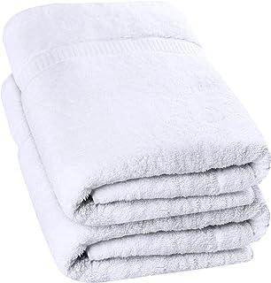 Utopia Towels – Luxurious Jumbo Bath Sheet (35 x 70 Inches, White) – 600 GSM..