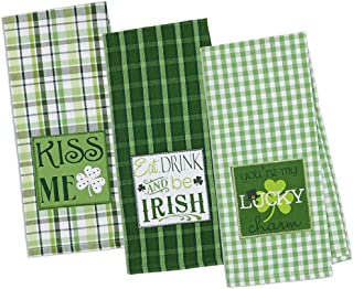 "DII Cotton Holiday Dish Towels, 18x28"" Set of 3, Decorative Oversized Embroidered Kitchen Towels, Perfect Home and Kitchen Gift-St Patrick's Day"