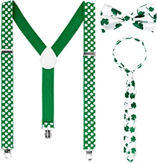 Whaline St. Patrick Costume Set Include Sequin and Shamrock Suspenders, Bowtie and Necktie, Adjustable X Back Elastic Suspenders St. Patrick's Day Party Accessory