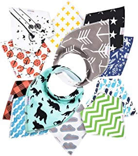 12- Pack Baby Bandana Drool Bibs for Drooling and Teething by Daulia, Unisex Super..