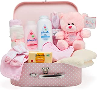 Newborn Baby Gift Set – Keepsake Box in Pink with Baby Clothes, Teddy Bear and Gifts..