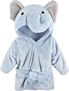 Hudson Baby Unisex Baby Plush Animal Face Robe, Blue Elephant, One Size, 0-9 Months