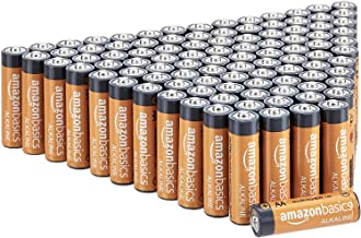 AmazonBasics 100 Pack AA High-Performance Alkaline Batteries, 10-Year Shelf Life, Easy to..