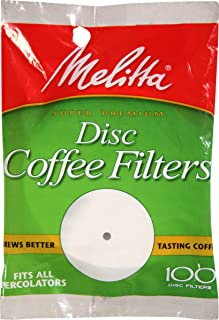 Melitta 3.5 Percolator Disc Coffee Filters, White, 100 Count