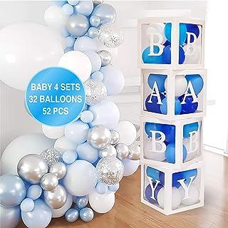 Baby Shower Decorations for Boy – 52PCS Jumbo Transparent Baby Block Balloon Box..