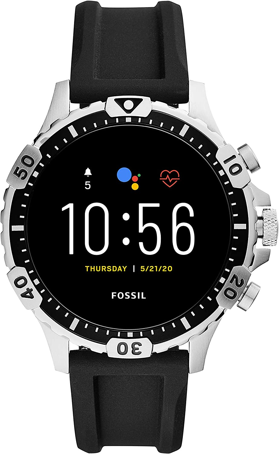 Fossil Men's Gen 5 Garrett Stainless Steel Touchscreen Smartwatch with Speaker, Heart Rate, GPS, Contactless Payments, and Smartphone Notifications