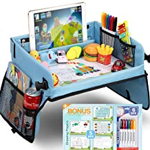 Upgraded Kids Travel Tray with Dry Erase Top Car Seat Travel Tray with 16 Organizer..
