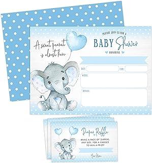 Boy Elephant Baby Shower Invitations, Peanut Baby Shower Invites with Diaper Raffles..