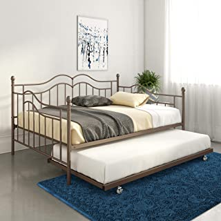 DHP Tokyo Daybed and Trundle with Metal Frame, Twin Over Twin Size, Brushed Bronze