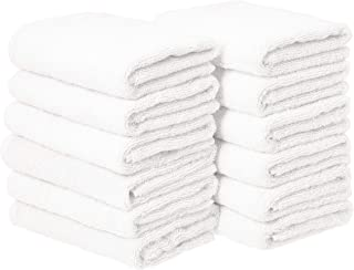AmazonBasics Cotton Hand Towels, White – Pack of 12