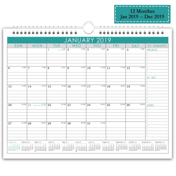 Wall Calendar 2019 Monthly Overview with Julian Date, 2019