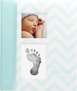 Pearhead Chevron Baby Memory Book with Clean-Touch Ink Pad Included, Teal – A..