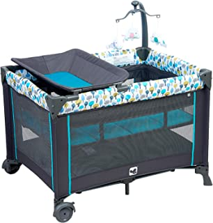Portable Playard ,Sturdy Play Yard with Comfortable Mattress and Changing Station (Blue&Green)