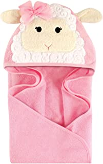 Hudson Baby Unisex Baby Cotton Animal Face Hooded Towel, Lamb, One Size